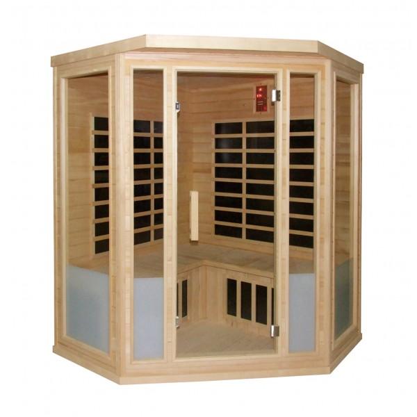 Infrarotkabine Vital 150 Eck, mit Flächenstrahlern, aus Hemlockholz, für 4 Personen