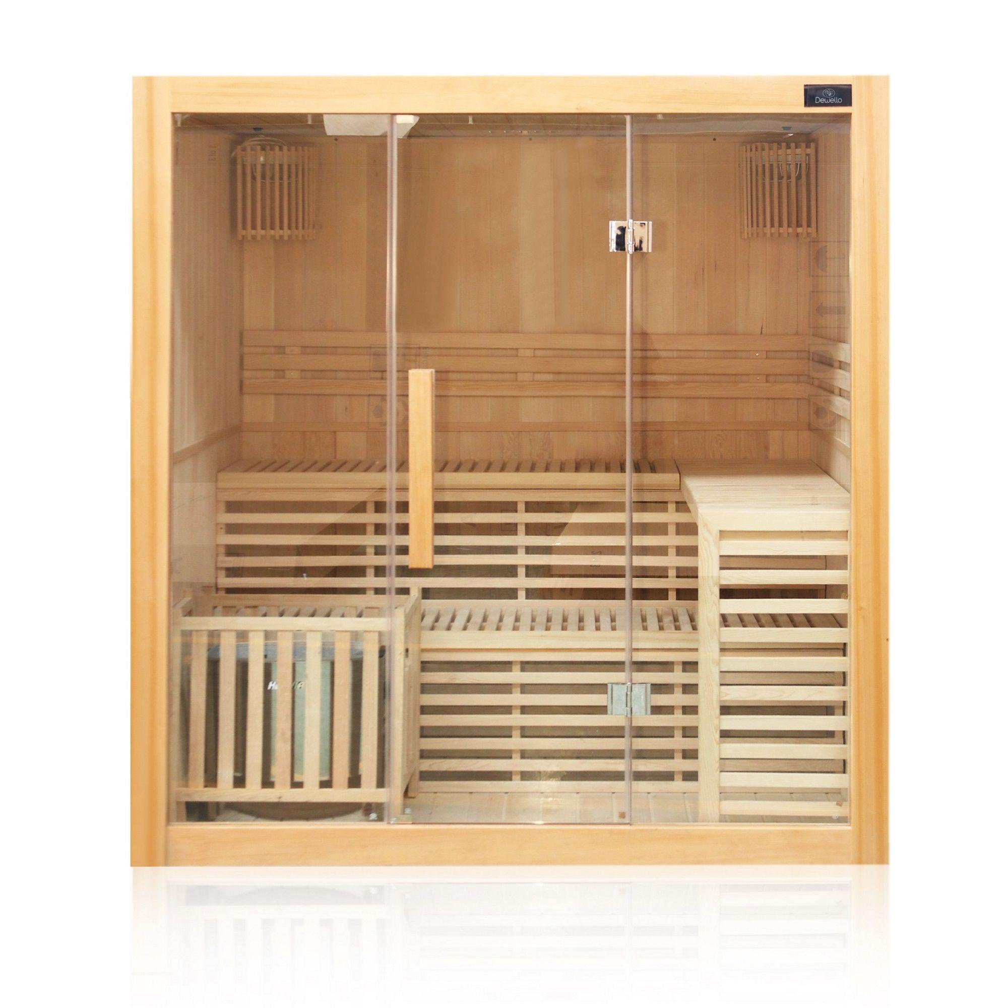 Finnische Sauna Sarnia 180 x 140, inkl. 6 kW Ofen, aus Hemlockholz, mit Glasfront