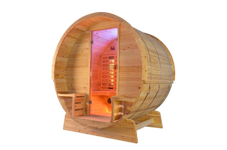 Infrarot Fass Sauna, Cedar Holz Rustikal mit Veranda