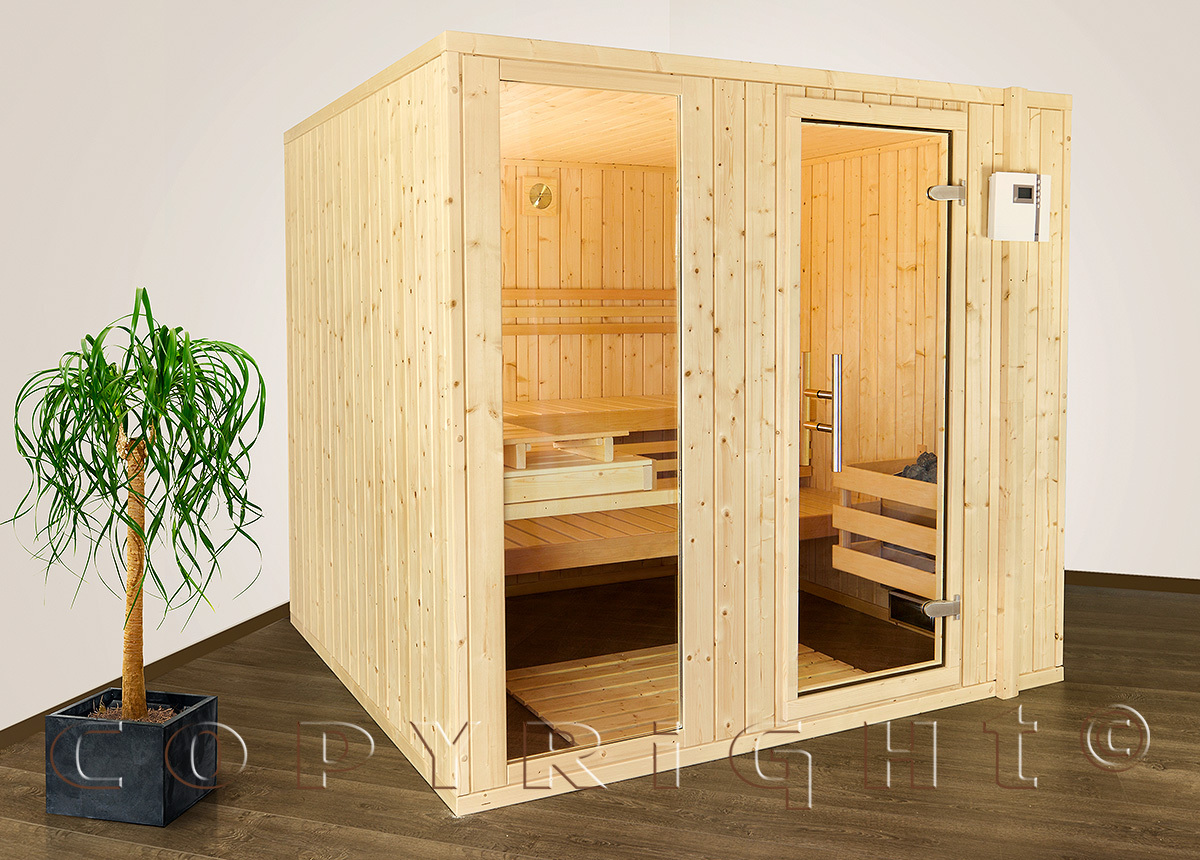 Sauna Classic Typ 2, nordische Fichte, 39mm Massiv Holz