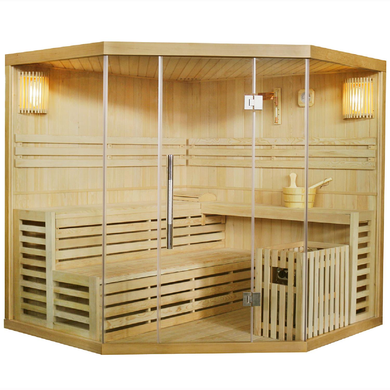 Finnische Sauna Espoo 200 x 200, mit Glasfront, inklusive Sauna-Ofen und Zubehör