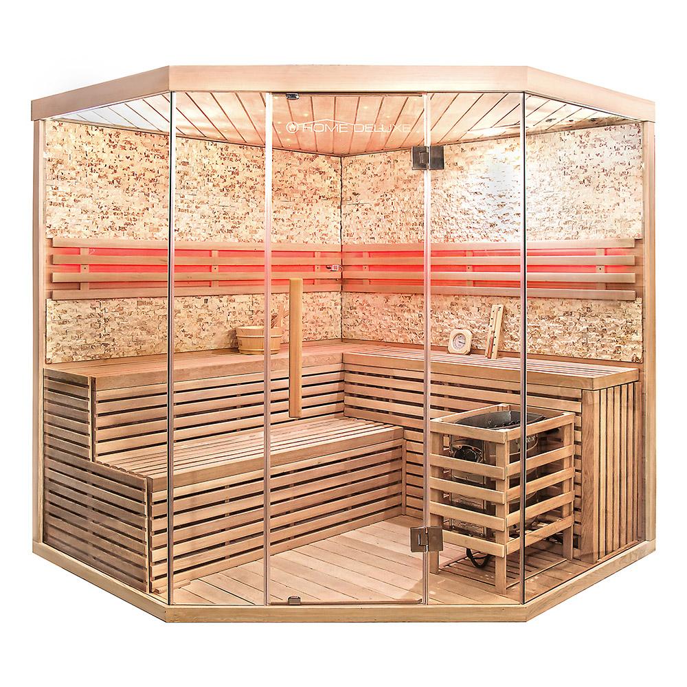 Traditionelle Sauna Skyline XL BIG Kunststeinwand