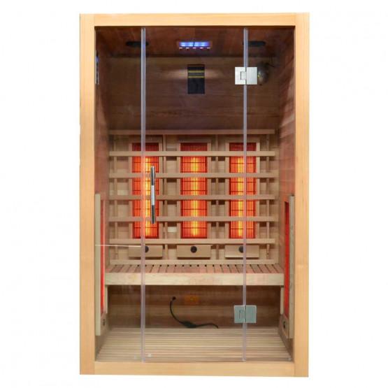 Infrarotkabine Visio II mit Vollpektrumstrahlern aus Hemlockholz und Zedernholz