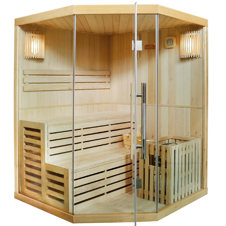 Finnische Sauna Espoo 150, Saunakabine mit 6 kW Saunaofen, mit Glasfront, aus Hemlockholz