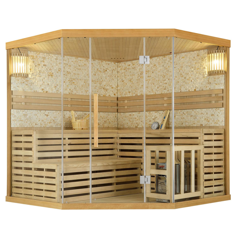 Finnische Sauna Espoo 200 Premium Naturstein, mit Glasfront und 8 kW Saunaofen