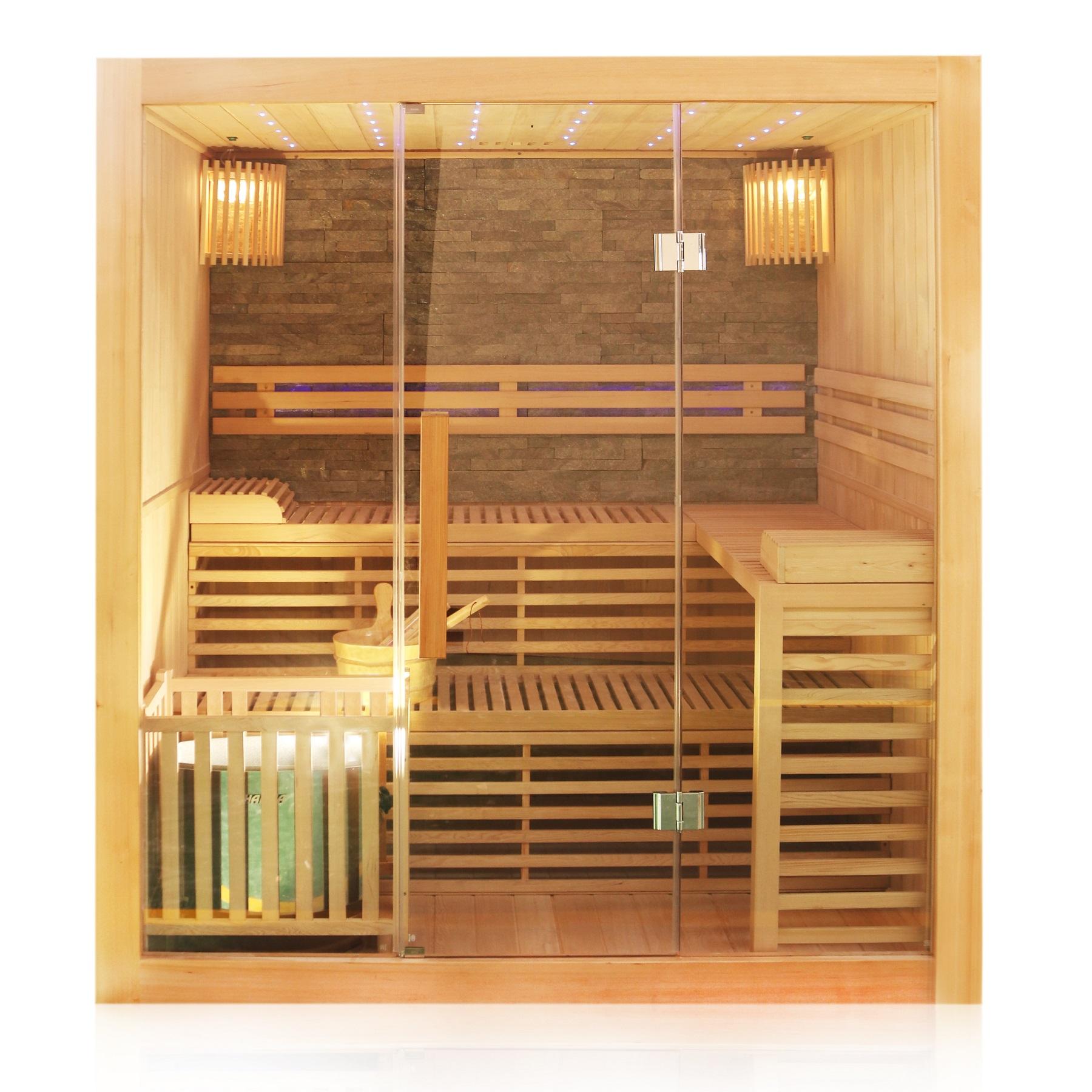 Finnische Sauna Sarnia Plus 180 x 140, aus Hemlockholz, inklusive Ofen, mit Natursteinwand