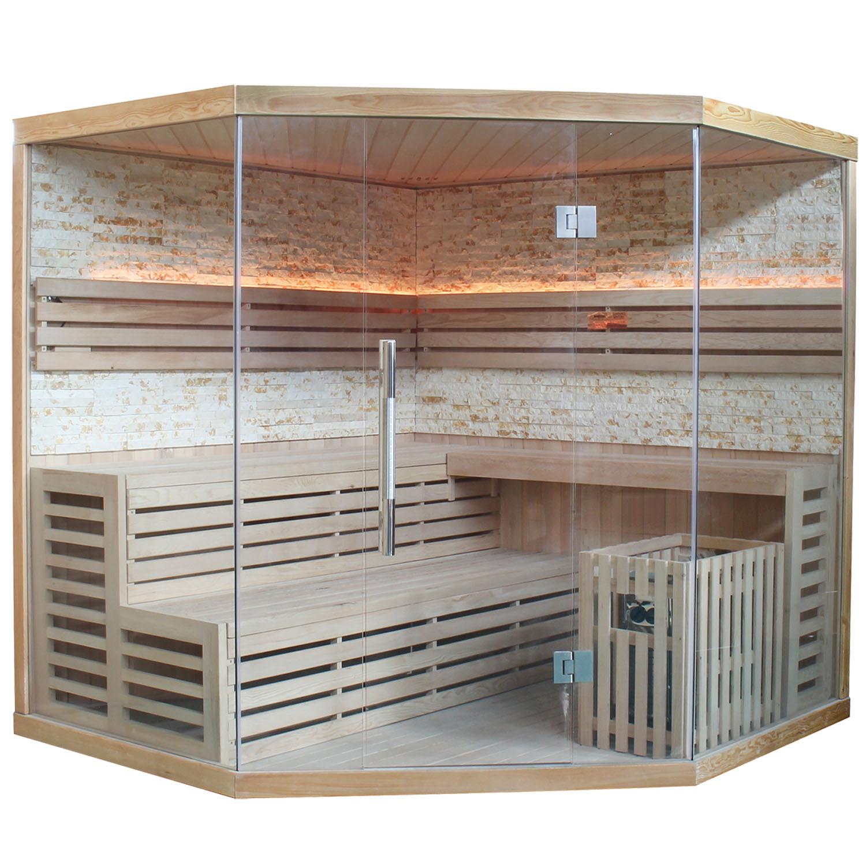 Finnische Sauna Espoo 200 Naturstein / Glasfront / 8 kW Saunaofen