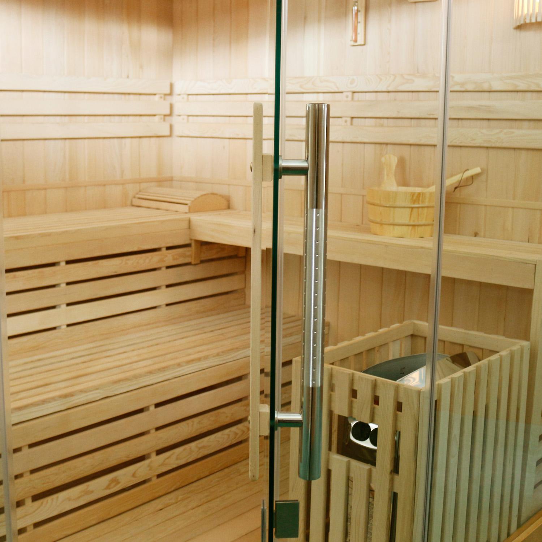 Finnische Sauna Espoo 200 x 200 Premium, mit Glasfront, inklusive Sauna-Ofen und Zubehör