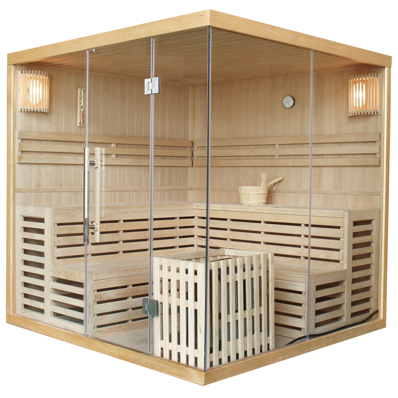 Traditionelle Saunakabine / Finnische Sauna Kuusamo 200 x 200 cm, inkl. 9 kW Ofen