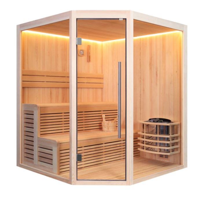 Finnische Sauna E1801A aus Pinienholz / 180 x 180 cm