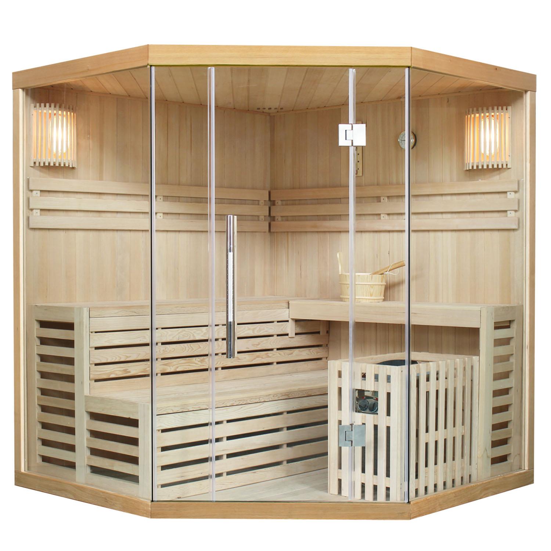 Finnische Sauna Espoo 180, inkl. 8 kW Saunaofen, aus Hemlockholz für 4 Personen