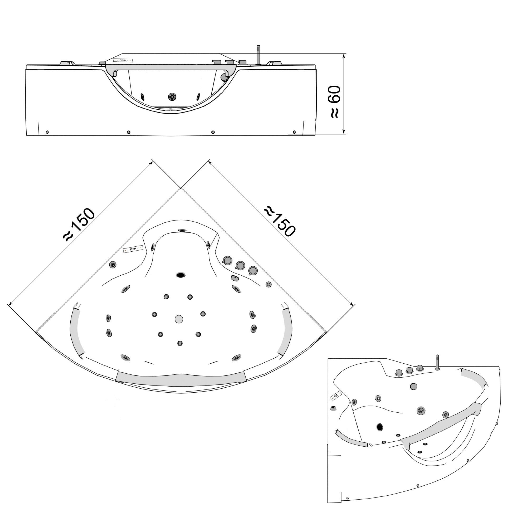 Whirlpool SANTORINI weiß 150 x 150