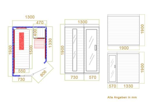 Infrarotkabine Kolding Triplex / 190 x 130 x 190