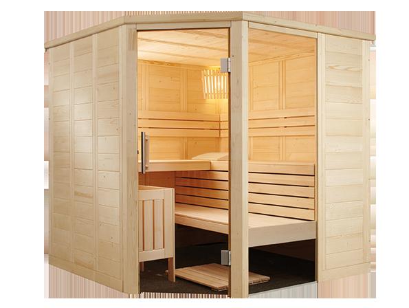 Finnische Sauna Alaska Corner 206 aus Fichte