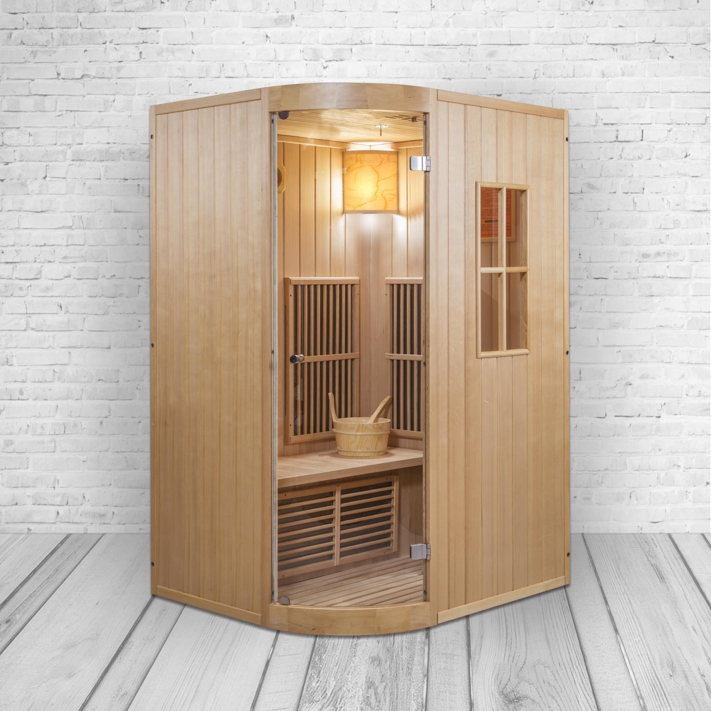 Kombi Infrarotkabine und Sauna Alpha I mit Saunaofen, Flächenstrahlern und Hemlockholz
